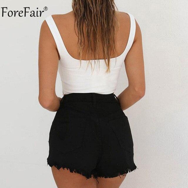 Forefair V Neck Sleeveless Sexy Bodysuit Women Summer Romper White Black Backless Bodysuit Body Top 6