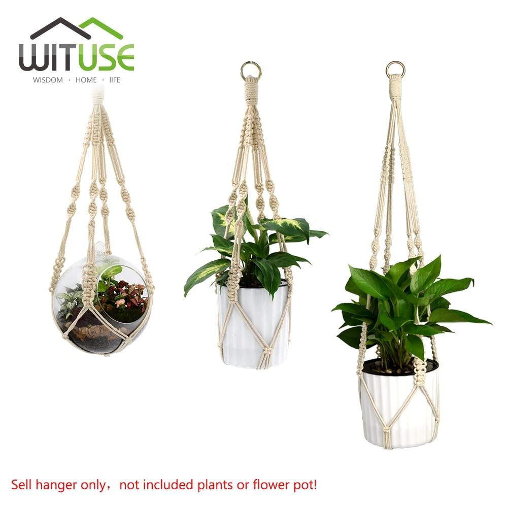 wituse promotion! handmade plant hanger 4 legs jute woven khaki