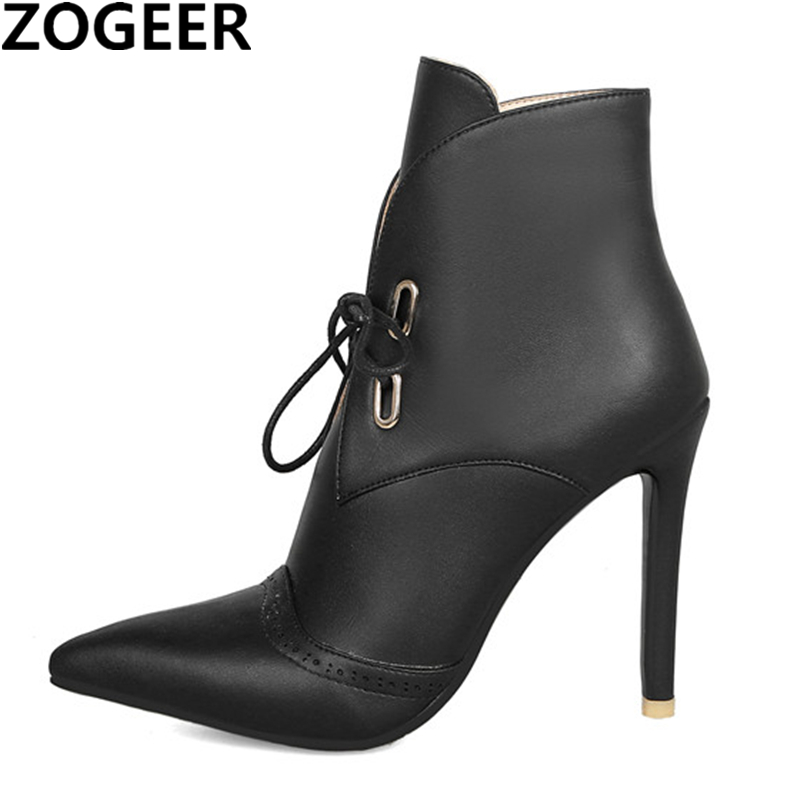 Plus size 47 New 2019 Fashion Women Ankle Boots High Heels Lace up Motorcycle Boots Sexy