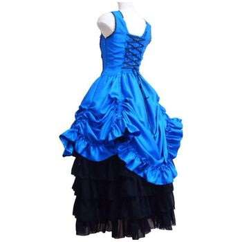 Customized 2018 Summer Gothic Victorian Party Dresses Costume Halloween Cosplay Stage Ball Gowns For Women 2 Colors