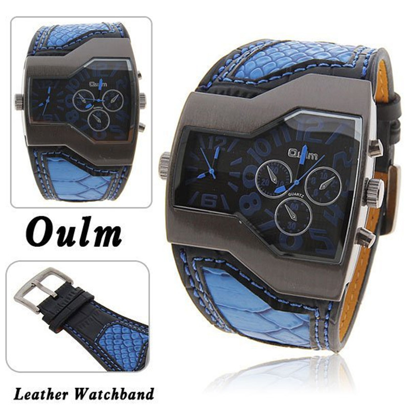 OULM Dual Face 5.2cm Large Dial Fashion Brand Watches for Men Cool White Leather Causal Quartz Watch Montre Homme Sport Marque image