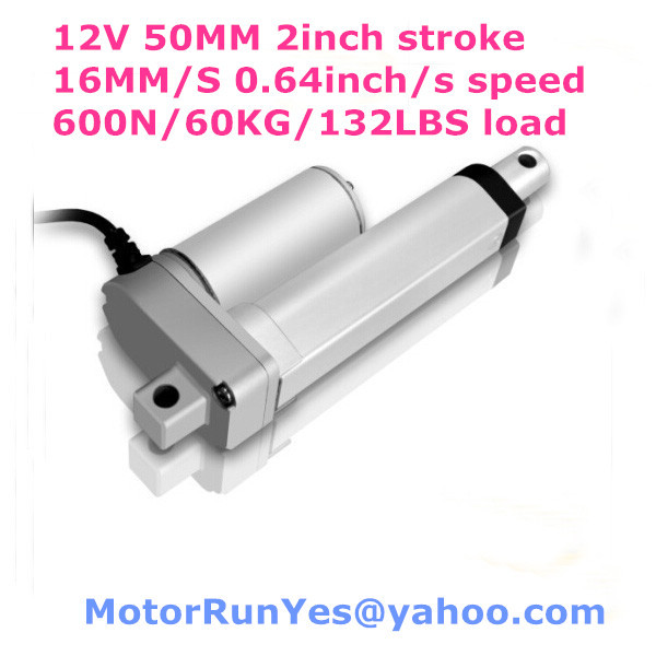 ФОТО 12V DC 50mm=2inch stroke 16mm/s=0.64inch/s speed 600N=60KG=132 Pound lift electric linear actuator free shipping