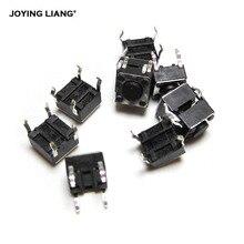 100pcs/lot 6*6*4.3 Micro Square Switch Black Push Button Copper Foot