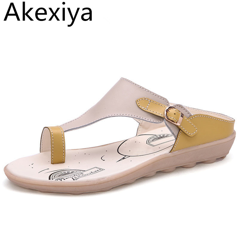 Akexiya Leather Gladiator Sandals Comfort Flip Flops 2017 Summer Style Platform Shoes Woman Slip On Flats Casual Women Shoes gladiator sandals 2017 fock women summer comfort flats fashion creepers platform casual shoes woman 2 colors