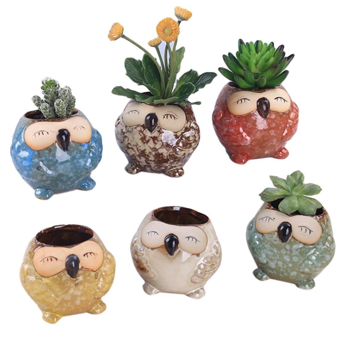 6Pcs Transmutation Glaze Cute Animal Owl Pattern Mini Plant Pot Office Household Decoration Ceramic Flowerpot Garden Supplies
