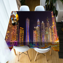 Europe style 3D Round Tablecloth City Lights Night View Pattern Washable Polyester Thicken Cotton Rectangular Dining Table Cloth