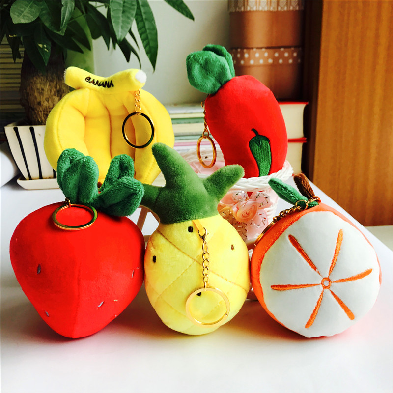 10-19cm Little Fruits and Vegetables banana carrot pineapple Choice - Plush Stuffed Toy , key chain pendant plush toys dolls
