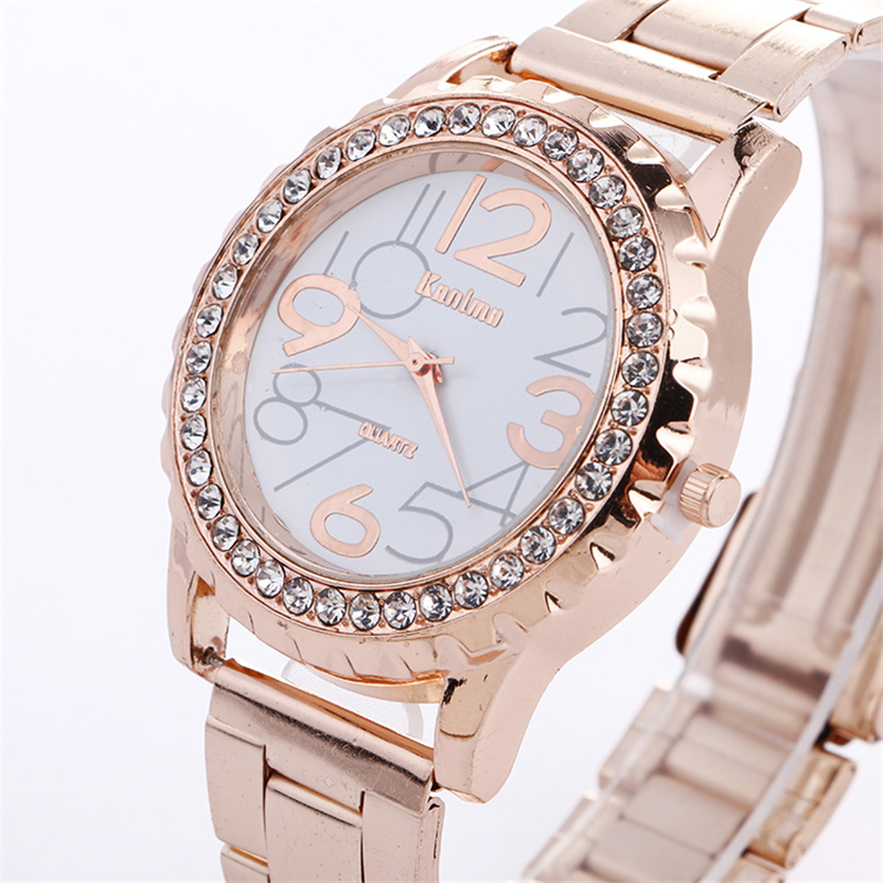 Women's Luxury Steel Watch Big Number Pattern Crystal Rhinestone Plated Bracelet Ladies' Casual Quartz Wrist Watch цена 2017