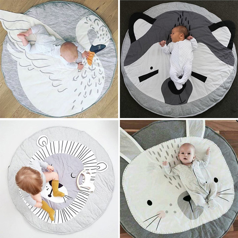 90CM Kids Play Game Mats Round Carpet Rugs Mat Cotton Swan Crawling Blanket Floor Carpet For Kids Room Decoration INS Baby Gifts цены