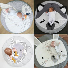 90CM Kids Play Game Mats Round Carpet Rugs Mat Cotton Swan Crawling Blanket Floor Carpet For Kids Room Decoration INS Baby Gifts(China)