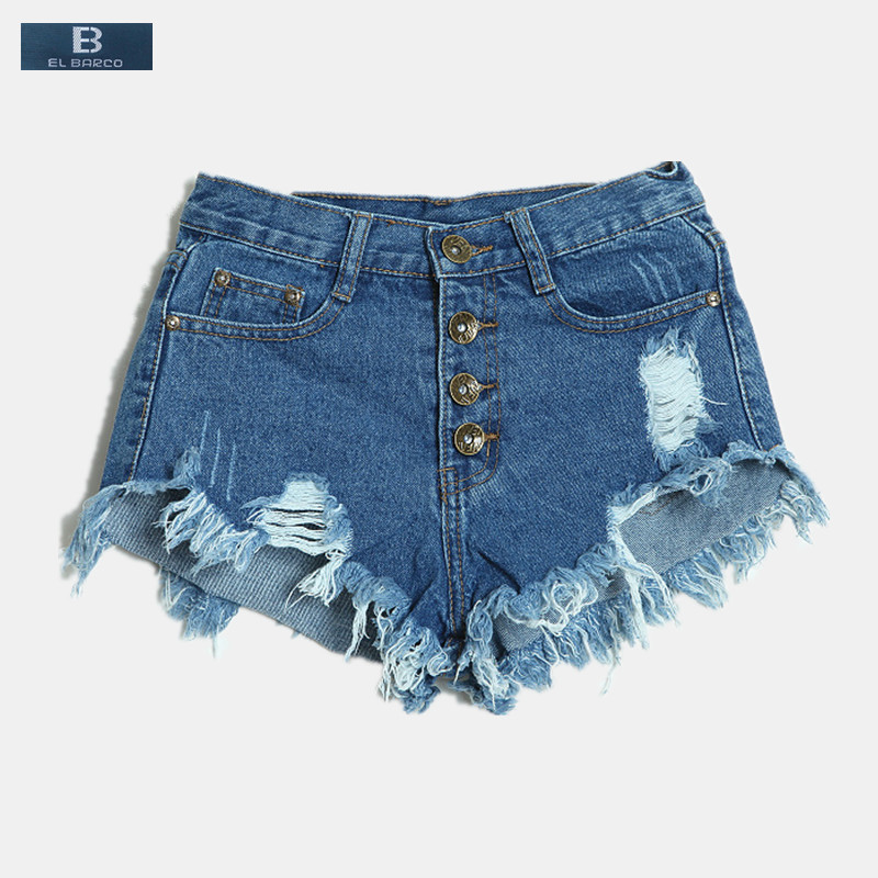 [EL BARCO] 2017 New Rapped Hole Sexy Women Summer Denim Shorts Jeans Cotton High-Waist Blue Black White Pink Female Casual Short