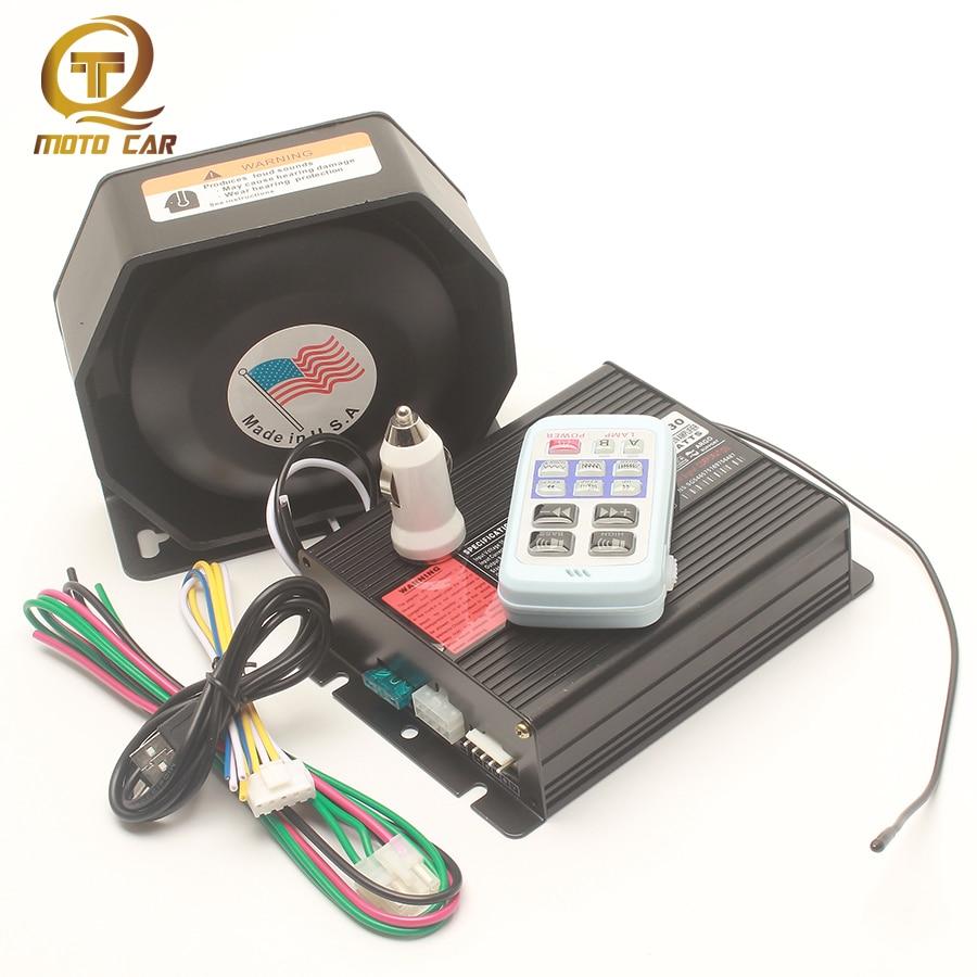 Wireless Police Siren Alarm Musical Car Horn Super Loud Waring Megaphone Speaker 6 OHM 8 Sound Siren Multi-tone Claxon Horn PA цена 2017
