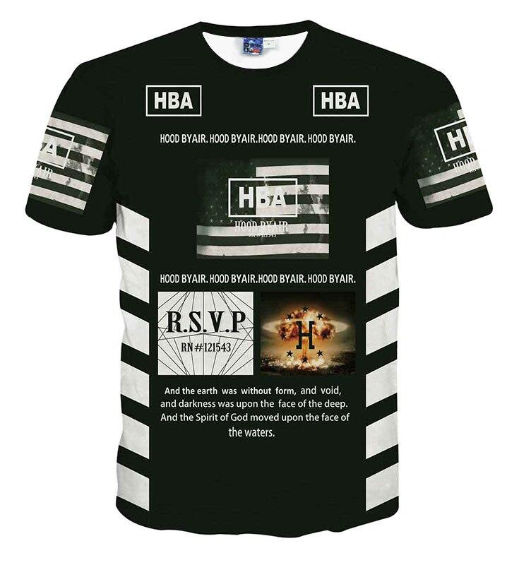 hot sale hood by air hba t shirt 69 printed short sleeve T shirt 3d font