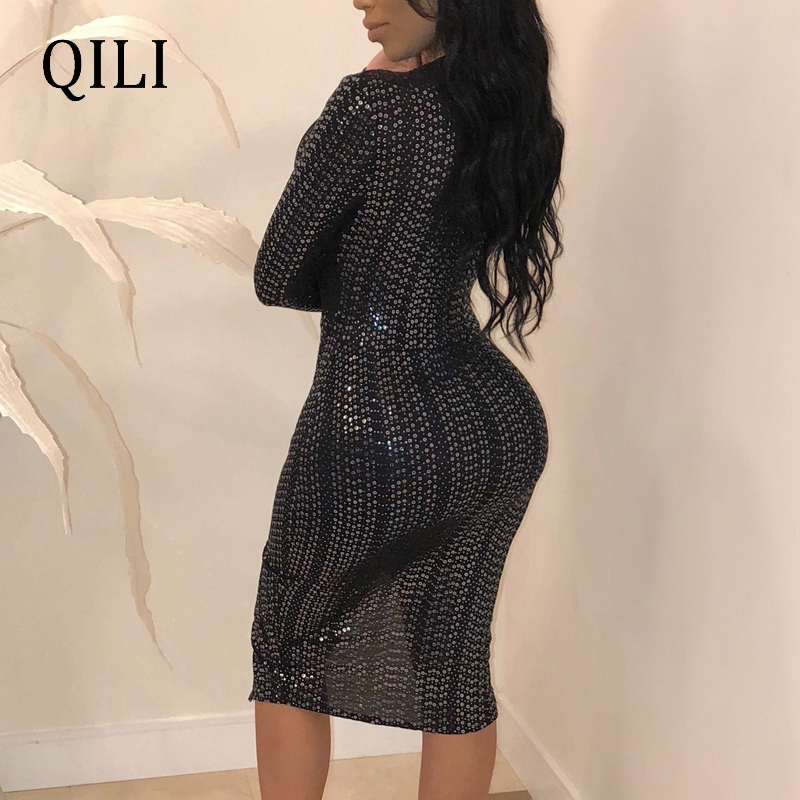 QILI Women Sexy V Neck Party Dress Sequined Split Asymmetrical Long Sleeve Bodycon Dresses Flash Sequin Elegant Black Pink Dress in Dresses from Women 39 s Clothing