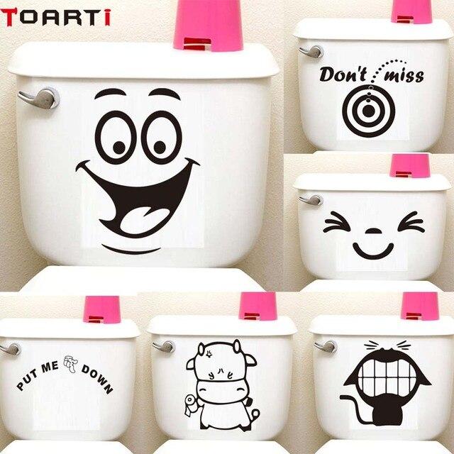 Большая улыбка лицо мультфильм Туалет Наклейка на сиденье Diy стикер стены s домашний Декор стикер на стену водонепроницаемый клей забавные украшения для ванной комнаты