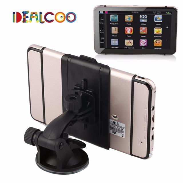 Dealcoo 2016 Nueva pantalla Capacitiva de 7 pulgadas de Navegación GPS Del Coche FM construido en 4 GB/128 M Camión vehículo Navegador gps Mueca de Dolor 6.0 Mapa libre