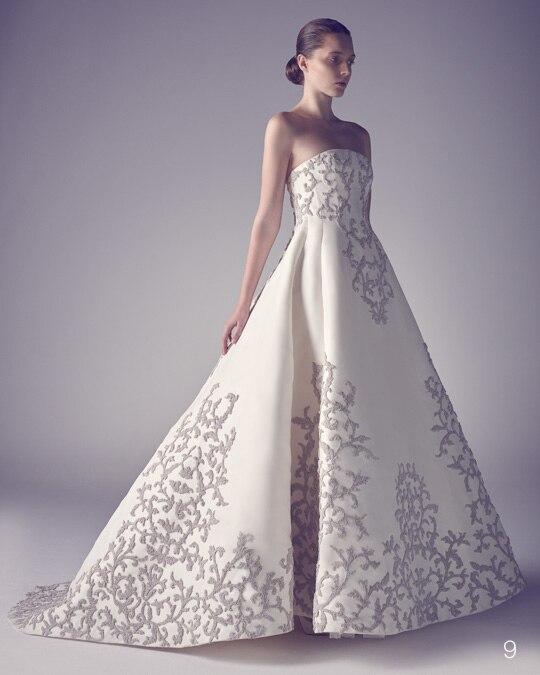 2016新しい有名なデザイナー夜会服のウェディングドレスストラップレス刺繍ローブデのみ