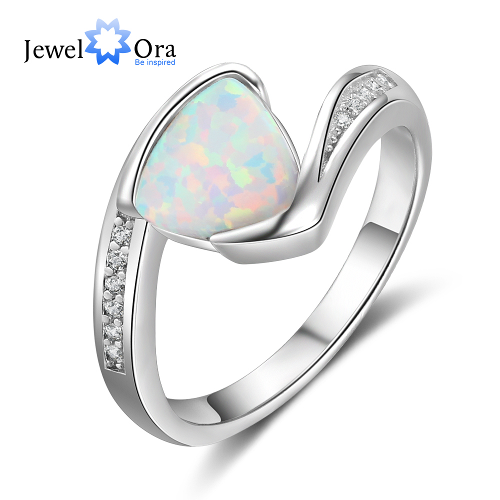 925 sterling silver Rings White Opal Stone For Women Wedding Ring 5 6 7 Size Trendy Ring Zircon Vintage Mother's Day Gift 2018 equte rssw30c1s7 fashionable titanium steel two zircon women s ring silver white us size 7