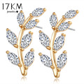 17KM Fashion Gold Color Crystal Leaf  Stud Earrings Cubic ZirconFlower Jewelry Earrings for Women  Ear Jacket Clips Jewelry