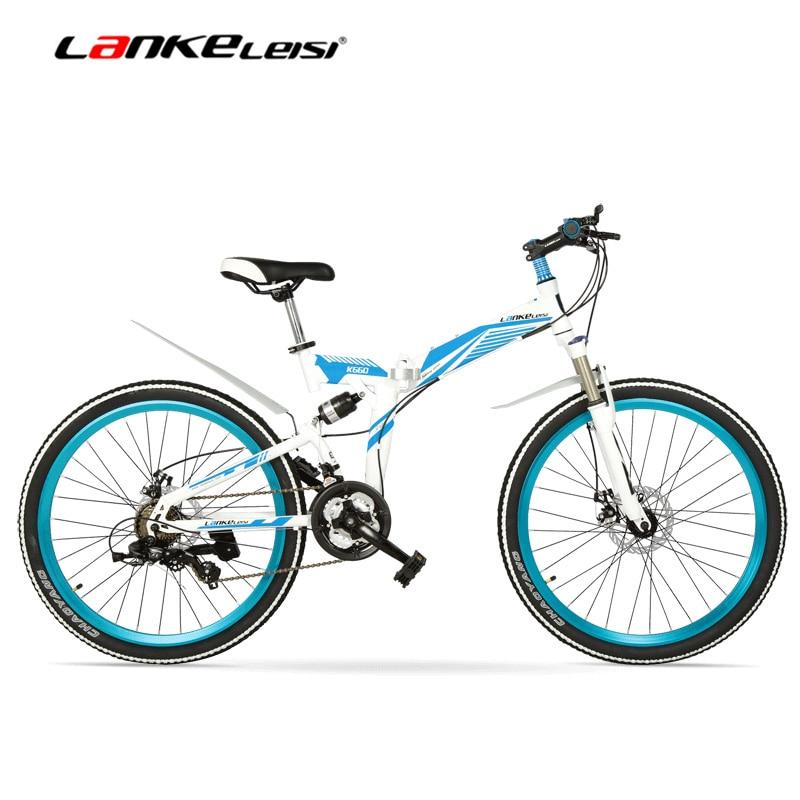 K660m Bicicleta Mtb Plegable De 24/26 Pulgadas, Bicicleta Plegable De 21 Velocidades, Horquilla Bloqueable, Suspensión Delantera Y Trasera, Freno De Disco, Bicicleta De Montaña