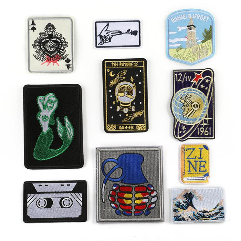 A Music Hand Flowers Parche Parches Ropa Badge Repair Patch Embroidered Iron On Patches For Clothing Close Shoes Bags Embroidery