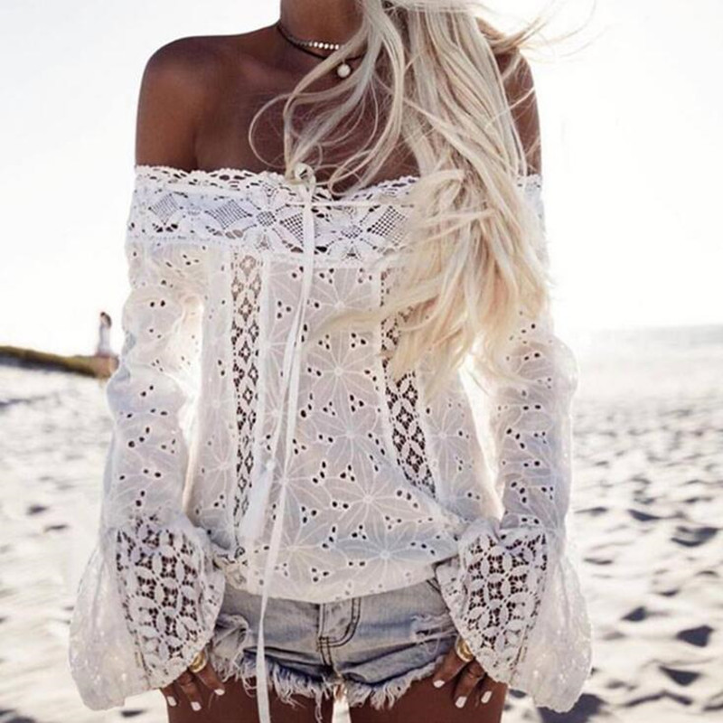 Women Bell Sleeve Off Shoulder Lace Blouse Sexy Slash Neck Hollow Out Patchwork Lace Shirt Blusa Feminina Tassel Casual Blouses Chemisier