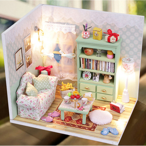 DIY Doll House Furnitures Miniatures For Dollhouse Light Handmade Wooden House For Dolls Model Gift Toys For Children M012 #E