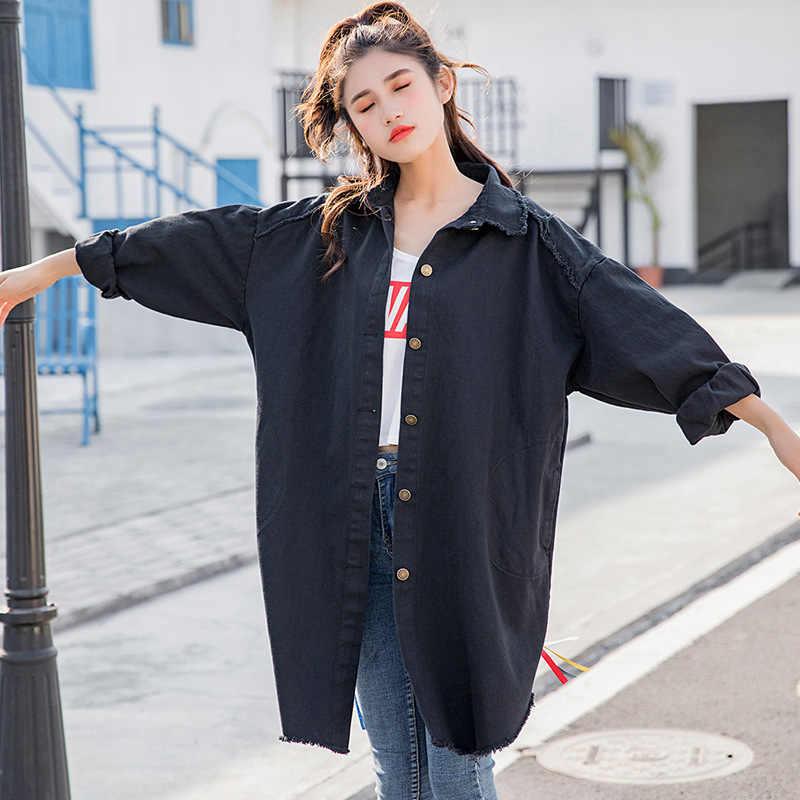 남자 친구 캐주얼 데님 자켓 여자 루스 코트 빈티지 패턴 한국 프린트 윈드 브레이커 chaqueta mujer harajuku befree