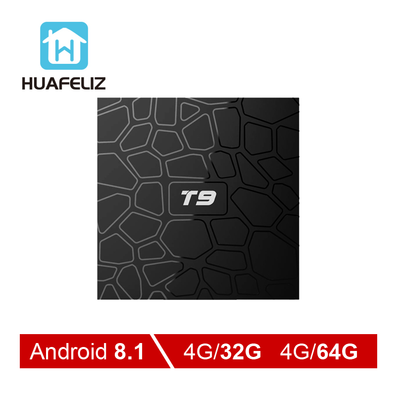 Android 8.1 TV Box T9 Tv Box 4 GB 64 GB T9 RK3328 Quad Core 4G/32G USB3.0 Smart 4 K décodeur en option 2.4G/5G double WIFI BT4.0