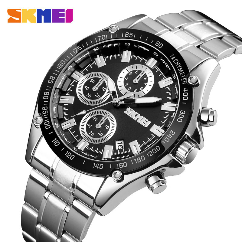 <font><b>SKMEI</b></font> 2020 New Fashion Quartz Watch Men Luxury Brand Full Stainless Steel Date Male Clock Men's Watches Relogio Masculino <font><b>1393</b></font> image