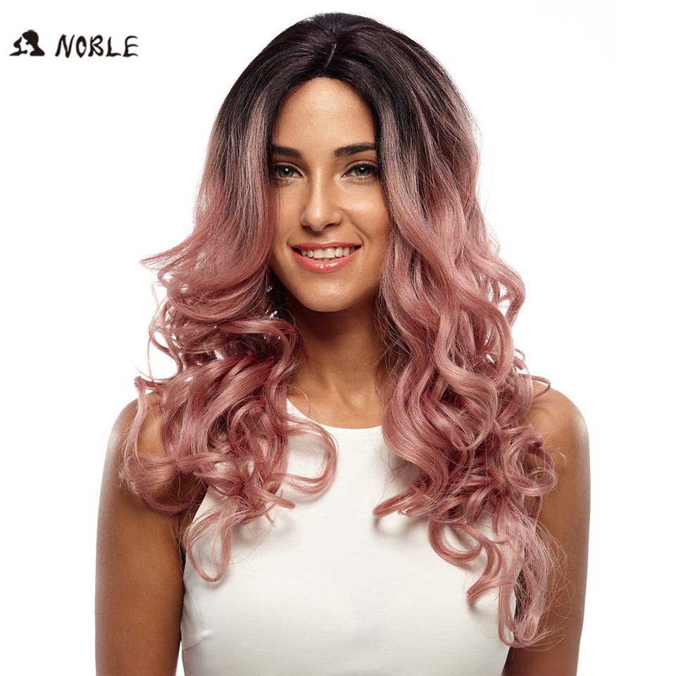 Noble Trendy Lace Front Wig Fiber Loose Wave Synthetic Hair Wigs For Black Women Color 1B Pink Mixed Cosplay Wig Free Shipping