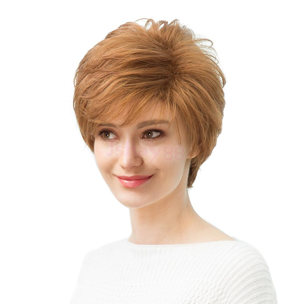 цена на Fashion Silky Blond Short Wavy Wigs Real Human Hair Wigs Natural Full Head Wig for Cosplay Costume Party