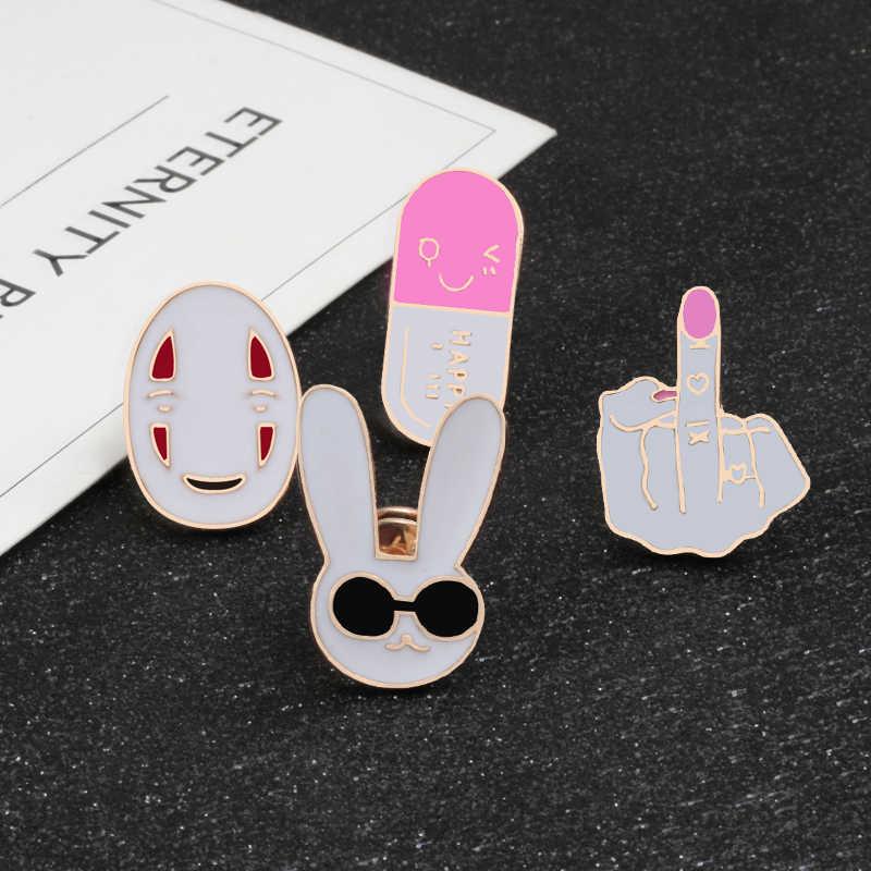Baru Fashion Bros Hewan Badge Kelinci Domba Rusa dan Kartun Masker Enamel Pakaian Tombol Pin Aksesoris Perhiasan Pria Wanita
