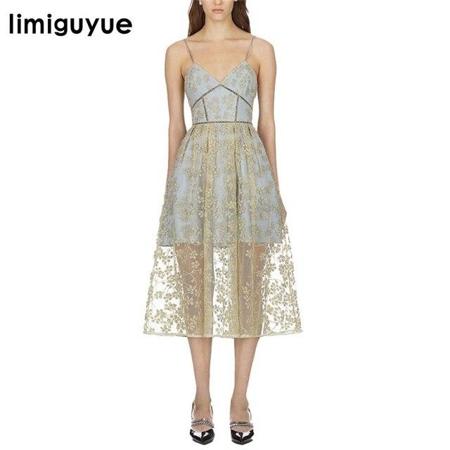 5d7e97c06f8be Aliexpress.com : Buy limiguyue floral embroidery spaghetti strap long party  dress women backless v neck runway slim dress self portrait dress Z0610 ...