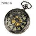 PACIFISTOR Pocket Watch Vintage Luminous Night Vision Dial Mens Pocket Watch Mechanical Skeleton Relojes Steampunk Fob Watch