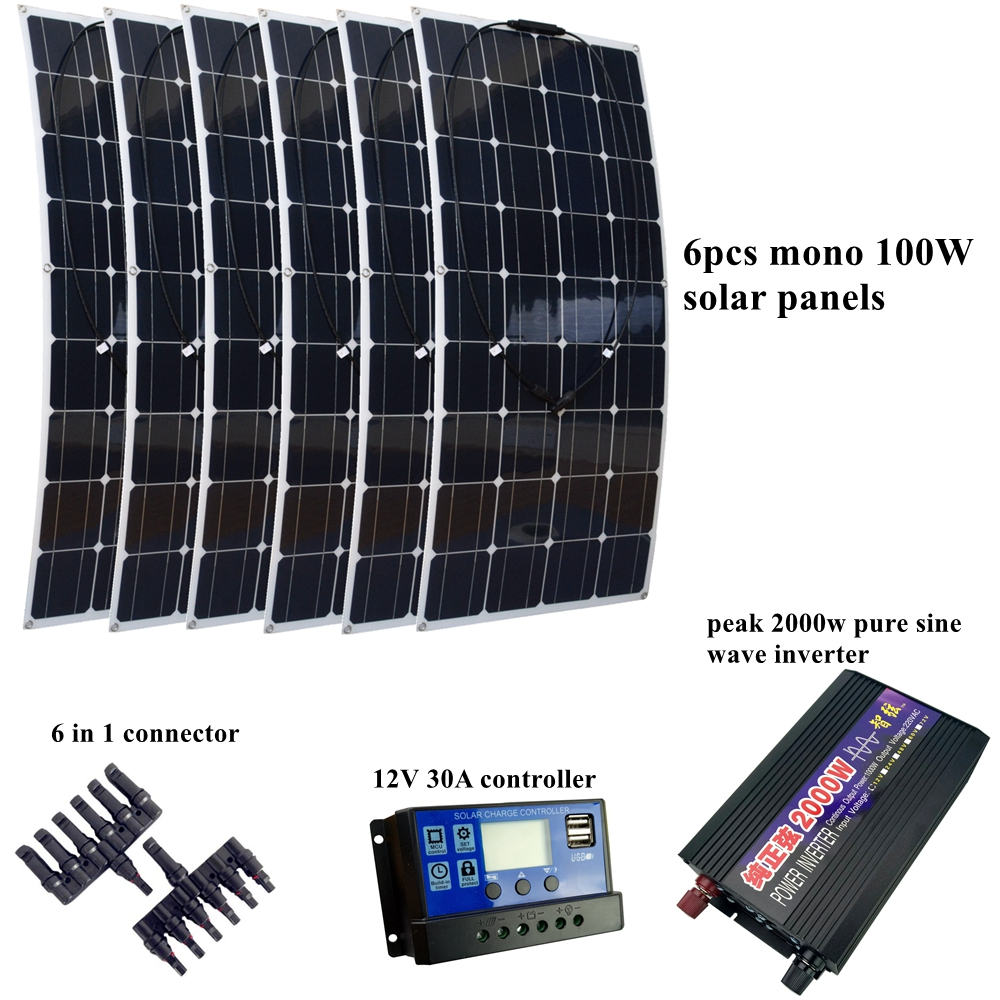 6pcs 20V 100W Flexible Solar Panel Module with 30A Controller and 2000W Pure Sine Wave Inverter 600W Solar P System