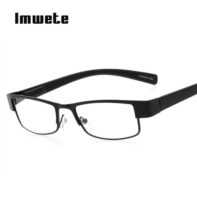 Imwete Fashion Glasses Business Reading Glasses Men Rectangle Prescription Eyeglasses Hyperopia Presbyopia +1.0 +2.0 +3.0