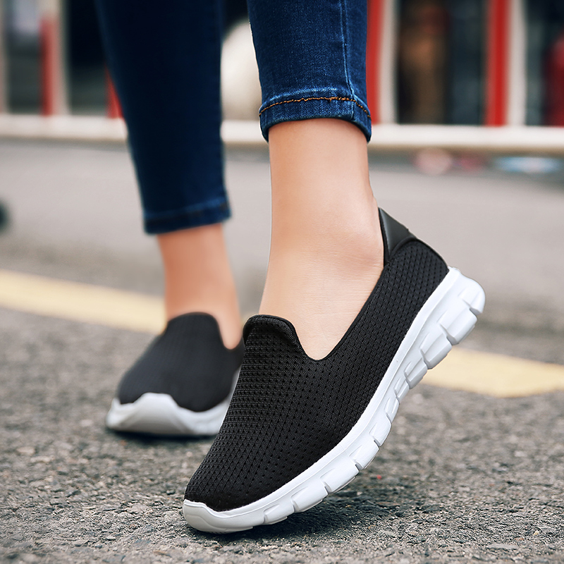 COOTELILI Women Sneakers Platform Casual Shoes Woman Flats Slip on Breathable Loafers Ladies Black Gray Blue Plus Size 40 41 42 cootelili women flats genuine leather shoes woman casual loafers slip on round toe ladies oxfords white plus size 40 41 42 43