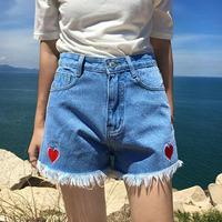 2018 Women Denim   Shorts   High Waist Cotton   Shorts   Harajuku Cute Kawaii Heart Cutoff Denim   Shorts   #A038
