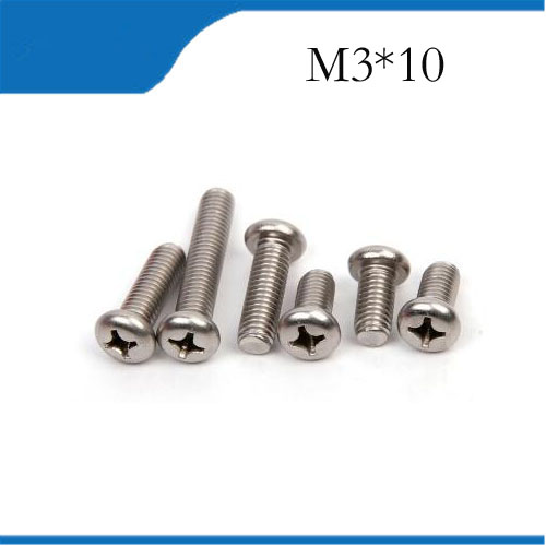 Free shipping <font><b>M3X10mm</b></font> Stainless Steel Pan Head Screw Cross Socket Recessed Raised Cheese Head Round Head Cross Recessed Screw image