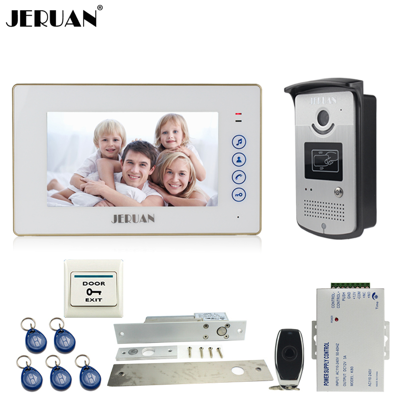 JERUAN 7`` TFT touch key video door phone intercom system kit 700TVL RFID Access IR Night Vision Camera In stock FREE SHIPPING