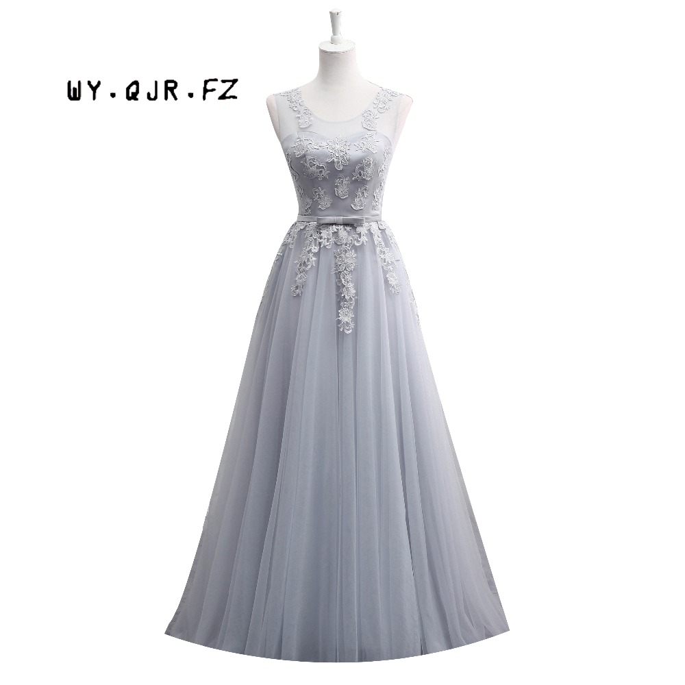 MNZ-510#Lace Up Short Medium LONG New Grey Bridesmaid Dresses Autumn Winter 2019 Lace Up Wedding Prom Dress Toasting Services