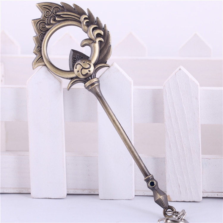 League Of Legends LOL The Tidecaller Nami Weapon 12cm Metal Pendant Key Ring Keychain In Box
