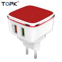 TOPK Fast USB Charger 21W Quick Charge 3.0 Mobile Phone Charger Auto-ID Dual USB