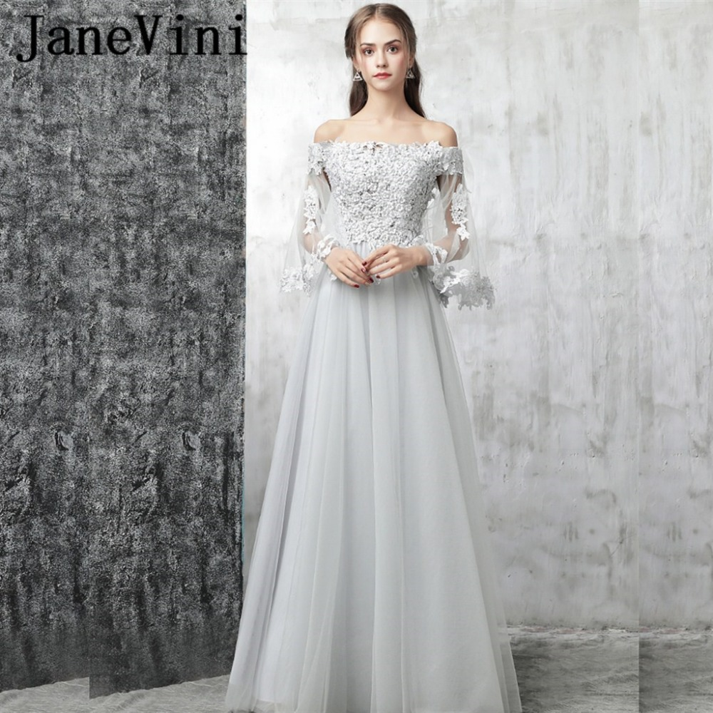JaneVini Light Gray Long   Bridesmaid     Dresses   2018 Chic A-Line Tulle Lace Appliques Beading Backless Women Wedding Party   Dresses