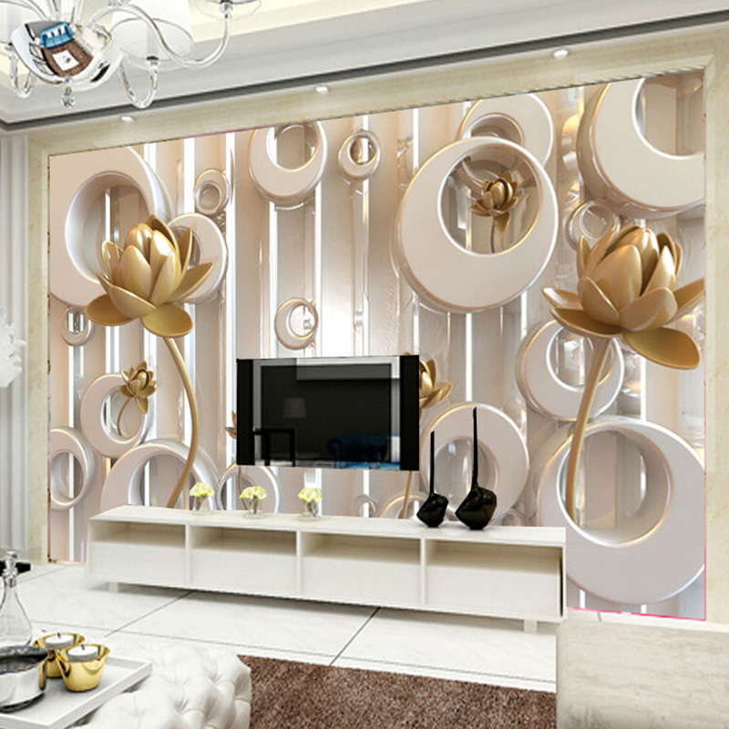 Custom Wall Mural Wallpaper 3D Lotus Flower European Style Art Wall Painting Living Room TV Background Mural Papel De Parede 3D pair of alloy leaf feather earrings