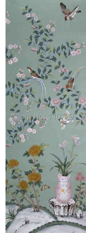 Home decoration wall material Hand-painted silk wallpaper painting flowers with birds and vase many pictures optional diy beads painting flower cross stitch wall decoration