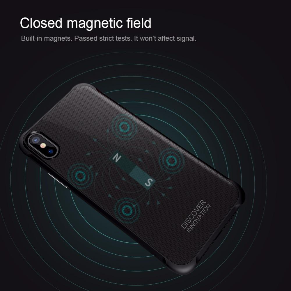 Para o iphone x caso de luxo Nillkin QI Carregamento Sem Fio Receiver Tampa Traseira fit para Carro Magnético carregador sem fio para iphone X 5.8