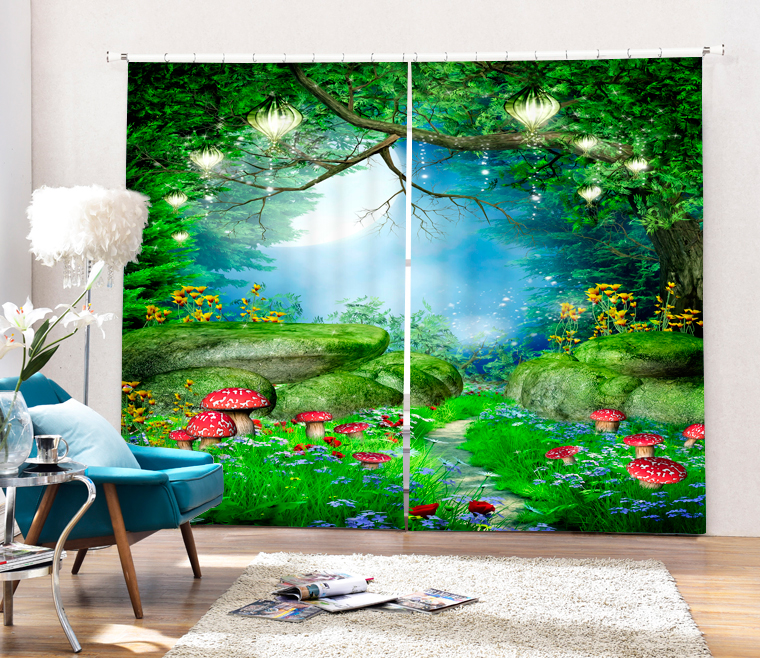 Home Decorative Green Jungle 3D Blackout Window Curtains For Living Room Kids Boys Bedding Drapes Cotinas Para Sala In From Garden On