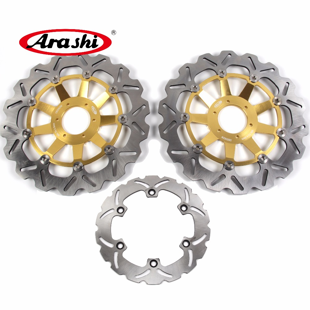 Arashi 1 Set For HONDA CBR 1100 XX 1999 2000 2001 2002 2003-2007 CBR1100XX Floating Front Brake disk & Rear Brake Disc Rotor 2x front brake rotors disc braking disk for moto guzzi breva griso 850 2006 california 1100 ev 1996 2000 griso 1200 8v 2007 2011